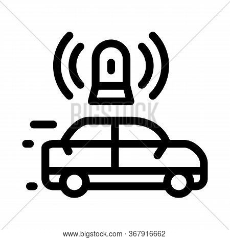 Flashing Police Car Icon Vector. Flashing Police Car Sign. Isolated Contour Symbol Illustration