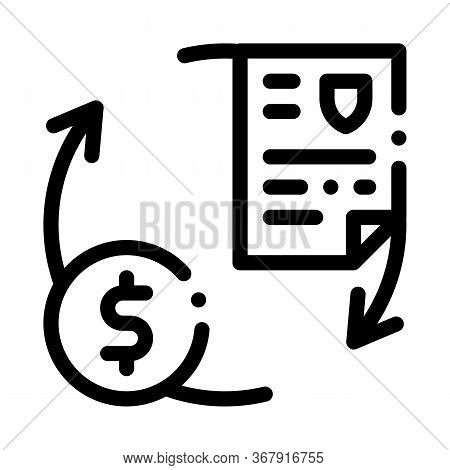 Payment By Money For Security Services Icon Vector. Payment By Money For Security Services Sign. Iso
