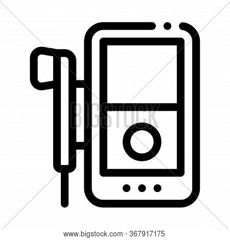 Listening To Music Through Player Icon Vector. Listening To Music Through Player Sign. Isolated Cont