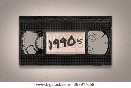 A Retro 1990's Themed Old Black Vhs Video Tape Illustration Background With Copy Space