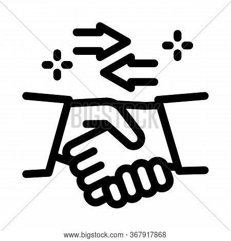 Handshake Exchange Agreement Icon Vector. Handshake Exchange Agreement Sign. Isolated Contour Symbol