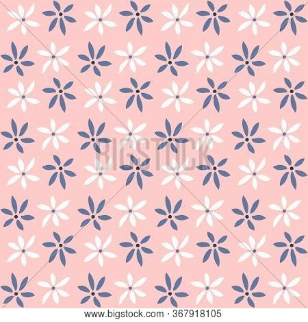 Simple Seamless Pattern With Flowers. Girly Floral Print. Vector Illustration.