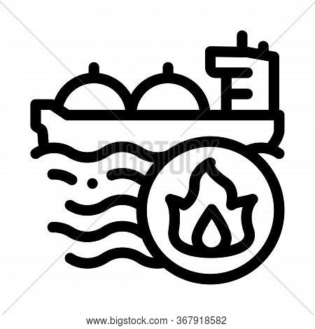 Gas Outlets At Sea Icon Vector. Gas Outlets At Sea Sign. Isolated Contour Symbol Illustration