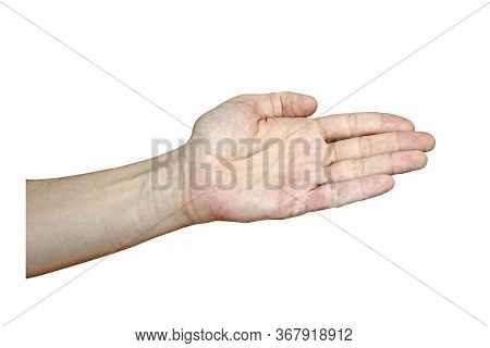 Male Hand With Fair Skin Shows A Gesture, Hand On A White Isolation Background. Open Hand Extended F