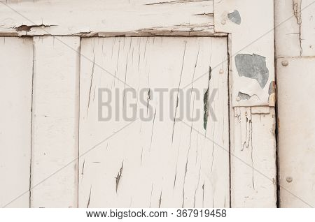 Closeup Of Peeling Paint On An Industrial Door, Useful For Textured Background