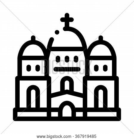 Christian Temple With Domes Icon Vector. Christian Temple With Domes Sign. Isolated Contour Symbol I