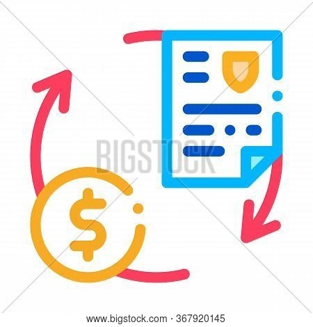 Payment By Money For Security Services Icon Vector. Payment By Money For Security Services Sign. Col