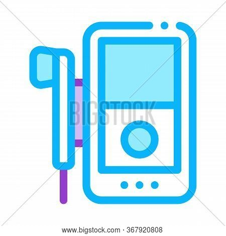 Listening To Music Through Player Icon Vector. Listening To Music Through Player Sign. Color Symbol