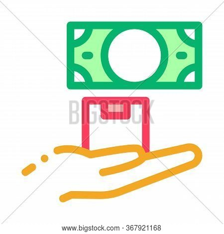 Ransom For Money At Pawnshop Icon Vector. Ransom For Money At Pawnshop Sign. Color Symbol Illustrati