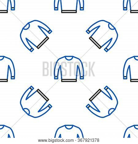 Line Sweater Icon Isolated Seamless Pattern On White Background. Pullover Icon. Colorful Outline Con