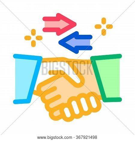 Handshake Exchange Agreement Icon Vector. Handshake Exchange Agreement Sign. Color Symbol Illustrati