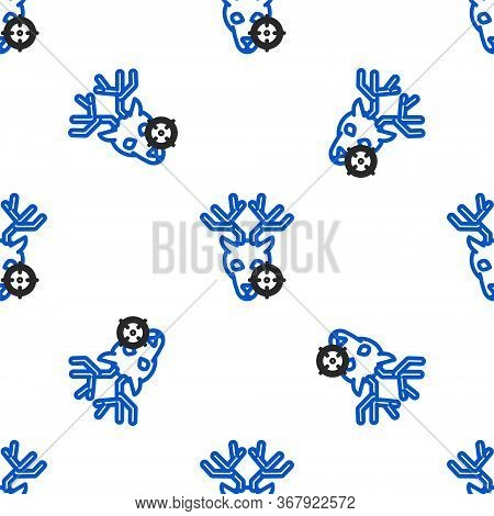 Line Hunt On Deer With Crosshairs Icon Isolated Seamless Pattern On White Background. Hunting Club L