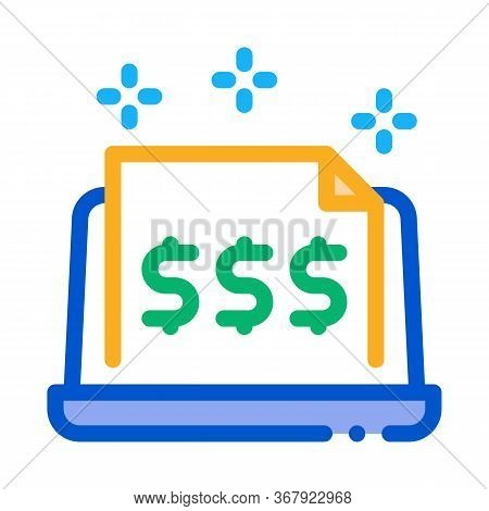 Cash Documents In Computer Version Icon Vector. Cash Documents In Computer Version Sign. Color Symbo