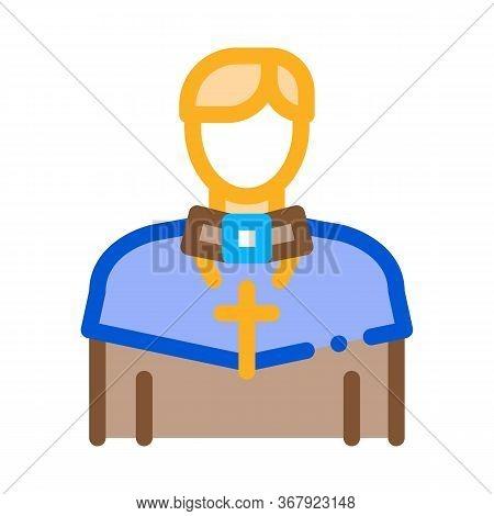 Christian Monk Icon Vector. Christian Monk Sign. Color Symbol Illustration