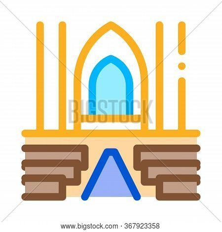 View Inside Catholic Church Icon Vector. View Inside Catholic Church Sign. Color Symbol Illustration