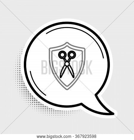 Line Scissors Hairdresser And Shield Icon Isolated On Grey Background. Hairdresser, Fashion Salon An