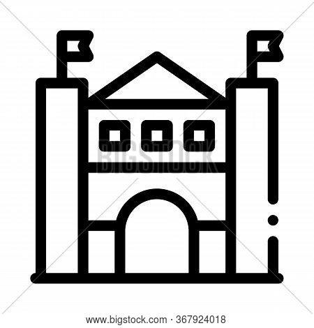 Castle Amusement Park Icon Vector. Castle Amusement Park Sign. Isolated Contour Symbol Illustration