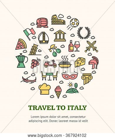 Travel To Italy Round Design Template Black Thin Line Italian Icon Banner With Text. Vector Illustra
