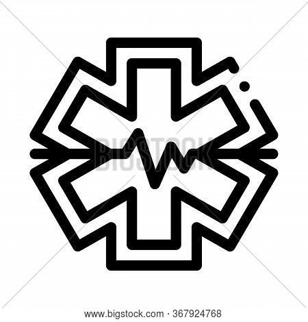 Hypothermia Cardiogram Problems Icon Vector. Hypothermia Cardiogram Problems Sign. Isolated Contour