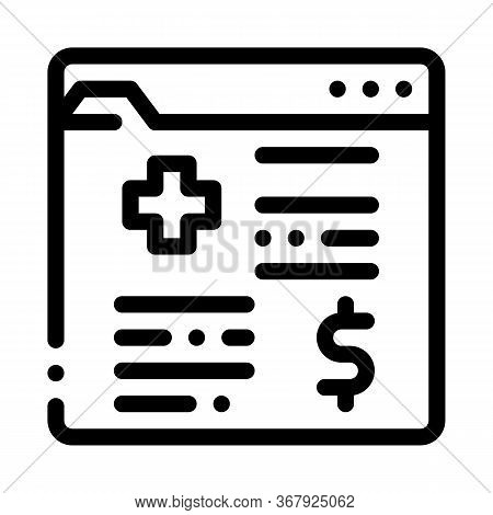 Medical Card In Paid Hospital Icon Vector. Medical Card In Paid Hospital Sign. Isolated Contour Symb