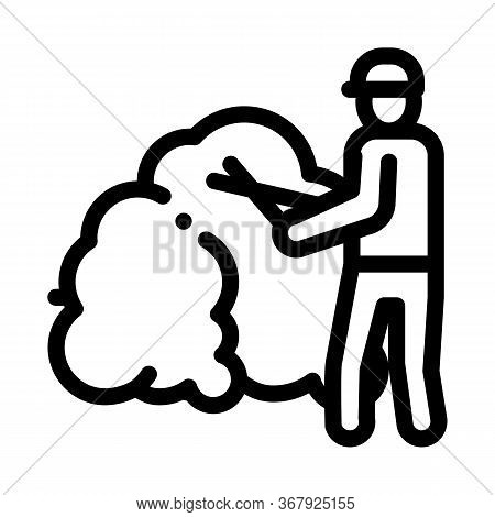 Gardener With Secateurs Icon Vector. Gardener With Secateurs Sign. Isolated Contour Symbol Illustrat