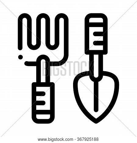 Hand Rake And Shovel Tools Icon Vector. Hand Rake And Shovel Tools Sign. Isolated Contour Symbol Ill