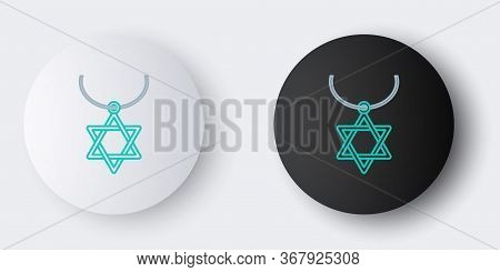 Line Star Of David Necklace On Chain Icon Isolated On Grey Background. Jewish Religion Symbol. Symbo