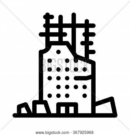 Collapse Of House To Initial Foundation Icon Vector. Collapse Of House To Initial Foundation Sign. I