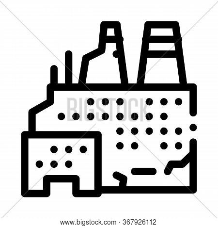 Destroyed Nuclear Power Plant Icon Vector. Destroyed Nuclear Power Plant Sign. Isolated Contour Symb