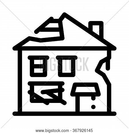 Ruined House Icon Vector. Ruined House Sign. Isolated Contour Symbol Illustration