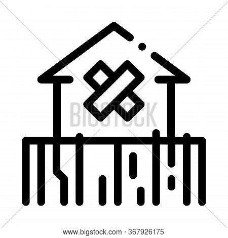 Enclosed Non-residential Building Icon Vector. Enclosed Non-residential Building Sign. Isolated Cont