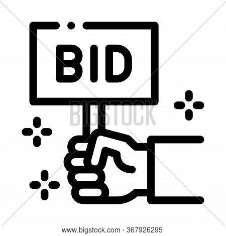 Bid Sign Icon Vector. Bid Sign Sign. Isolated Contour Symbol Illustration