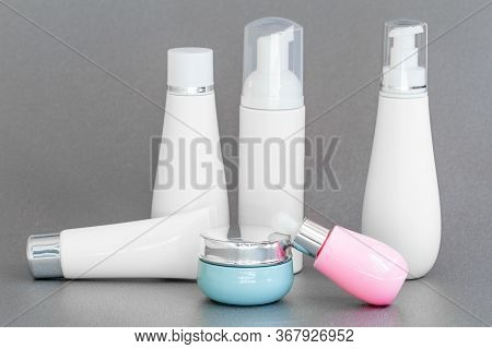 Blank Bottle Packaging With Natural Cosmetic Cream, Serum, Skincare, Lotion, Tonic. Bio Organic Prod
