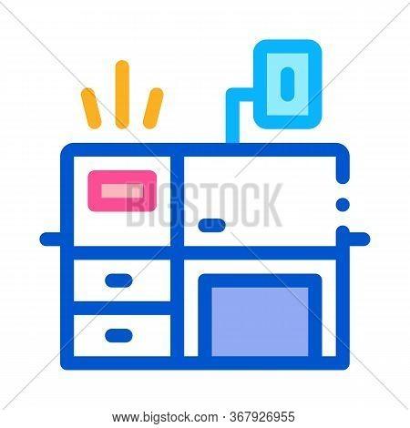 Workplace Desk Icon Vector. Workplace Desk Sign. Color Symbol Illustration
