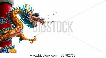 Chinese Style Dragon Statue On Background