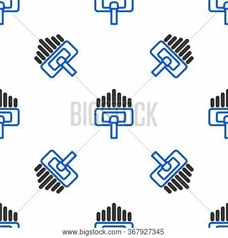Line Cleaning Service Icon Isolated Seamless Pattern On White Background. Vacuum Cleaner Head In Cir