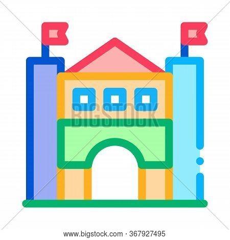 Castle Amusement Park Icon Vector. Castle Amusement Park Sign. Color Symbol Illustration