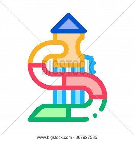 Kids Slide Water Park Icon Vector. Kids Slide Water Park Sign. Color Symbol Illustration