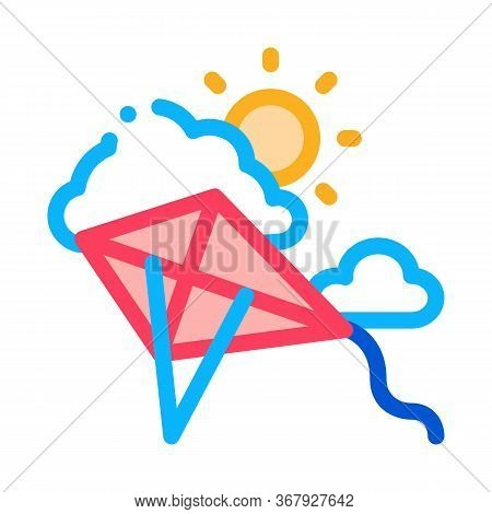 Kite Flying In Sunny Weather Icon Vector. Kite Flying In Sunny Weather Sign. Color Symbol Illustrati