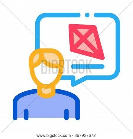 Human Desire To Fly Kite Icon Vector. Human Desire To Fly Kite Sign. Color Symbol Illustration