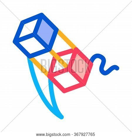 Aerial Cubes On String Icon Vector. Aerial Cubes On String Sign. Color Symbol Illustration