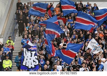 Glasgow, Scotland - July 18, 2019: Rangers Ultras Pictured During The 2nd Leg Of The 2019/20 Uefa Eu