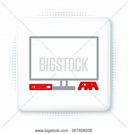 Line Video Game Console Icon Isolated On White Background. Game Console With Joystick And Lcd Televi