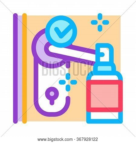 Keyhole Disinfection Icon Vector. Keyhole Disinfection Sign. Color Symbol Illustration