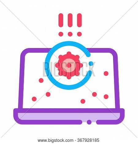 Bacteria Detection On Laptop Icon Vector. Bacteria Detection On Laptop Sign. Color Symbol Illustrati