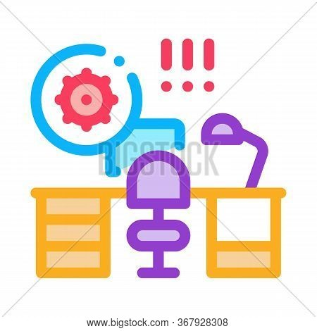 Harmful Bacteria In Working Room Icon Vector. Harmful Bacteria In Working Room Sign. Color Symbol Il