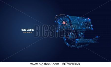 Low Poly 3d Cctv Security Camera In Dark Blue. Abstract Surveillance Technology, Safety, Smart Home