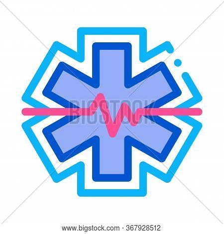 Hypothermia Cardiogram Problems Icon Vector. Hypothermia Cardiogram Problems Sign. Color Symbol Illu