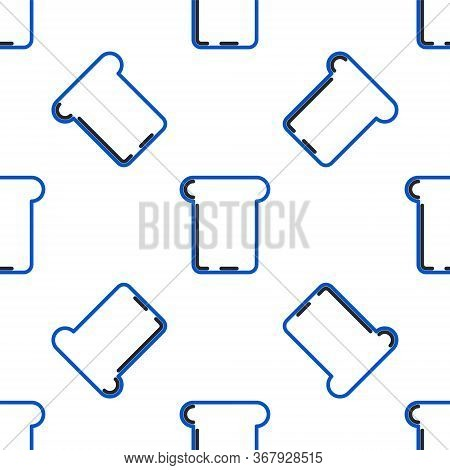Line Bread Toast For Sandwich Piece Of Roasted Crouton Icon Isolated Seamless Pattern On White Backg