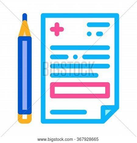 Medical Prescription And Pencil Icon Vector. Medical Prescription And Pencil Sign. Color Symbol Illu